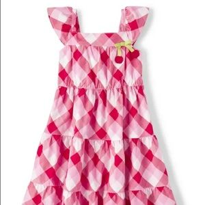 Gymboree Girls Gingham Tiered Dress - Very Cherry